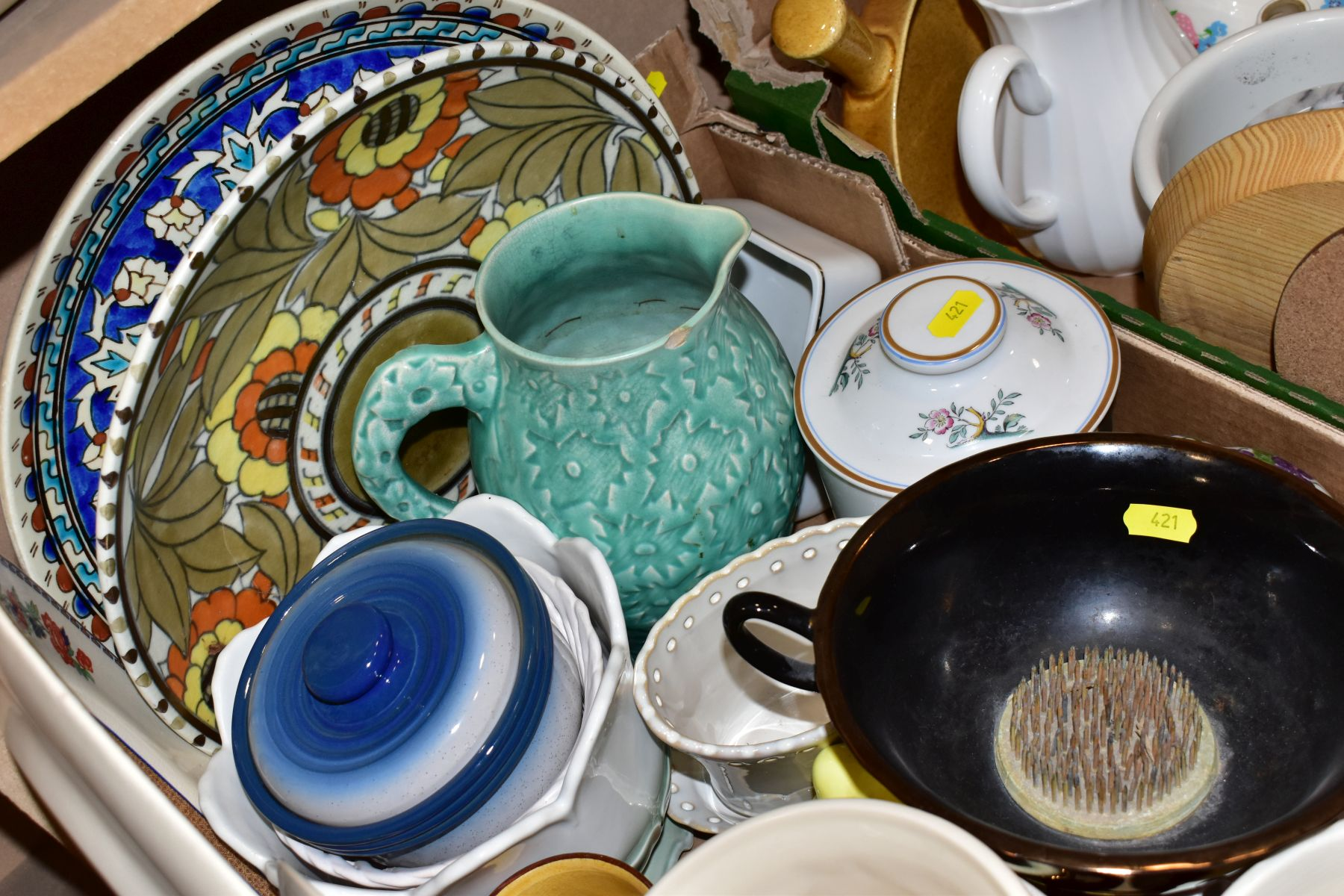 TWO BOXES OF ASSORTED CERAMICS etc to include a Charlotte Rhead charger ref 4319, Portmeirion - Image 5 of 6