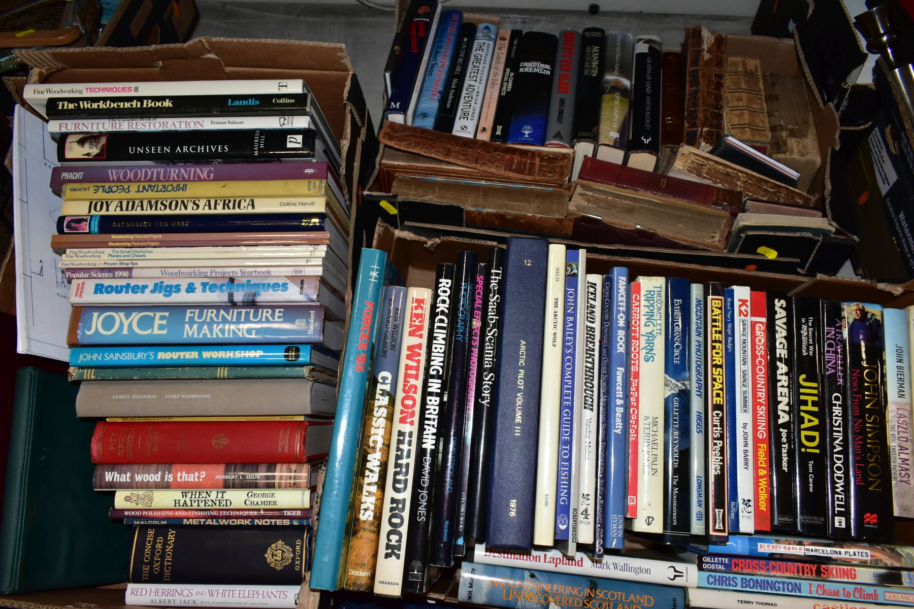 THREE BOXES OF BOOKS, to include subjects on woodworking, furniture, restoration, photography,