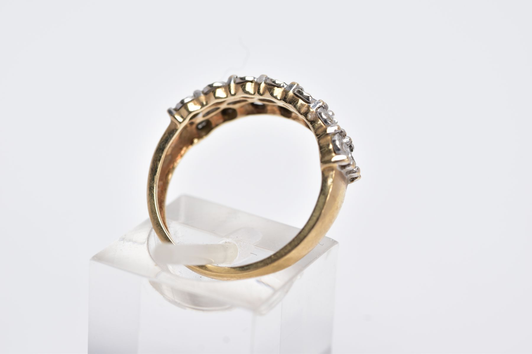 A 9CT GOLD DIAMOND RING, designed with two rows of illusion set, round brilliant cut diamonds, - Image 3 of 4