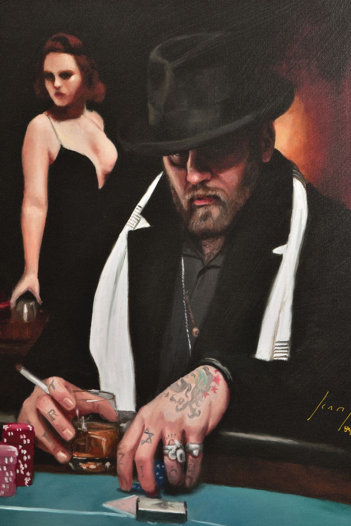 VINCENT KAMP (BRITISH CONTEMPORARY) 'NOT DONE YET' a limited edition print of a gambler in a - Image 2 of 7