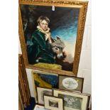 ALAN HEWICK (20TH C) 'BOY IN GREEN VELVET' a boy in 18th Century dress sits beside a Donkey,