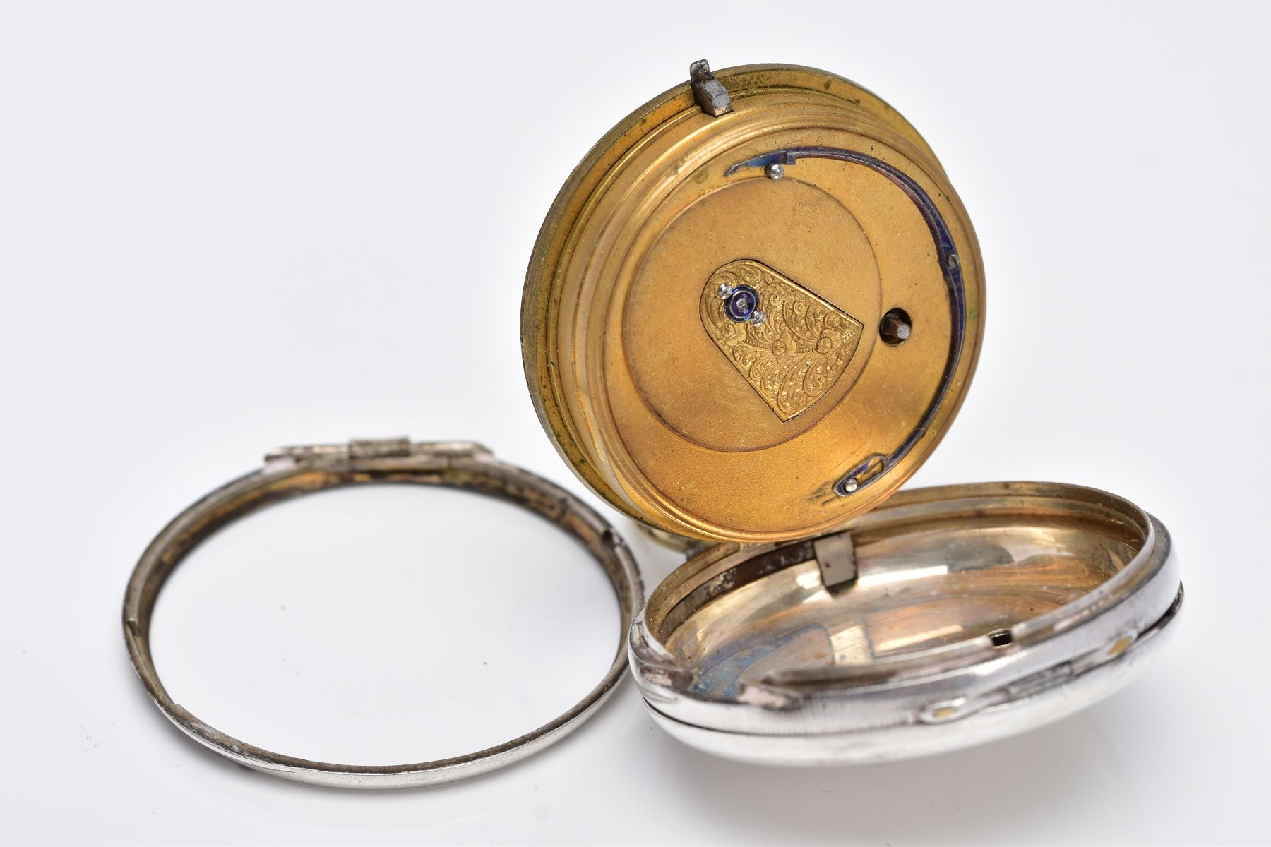 A SILVER OPEN FACED POCKET WATCH, AF, cream dial, Roman numerals, seconds subsidiary dial at the six - Image 4 of 5