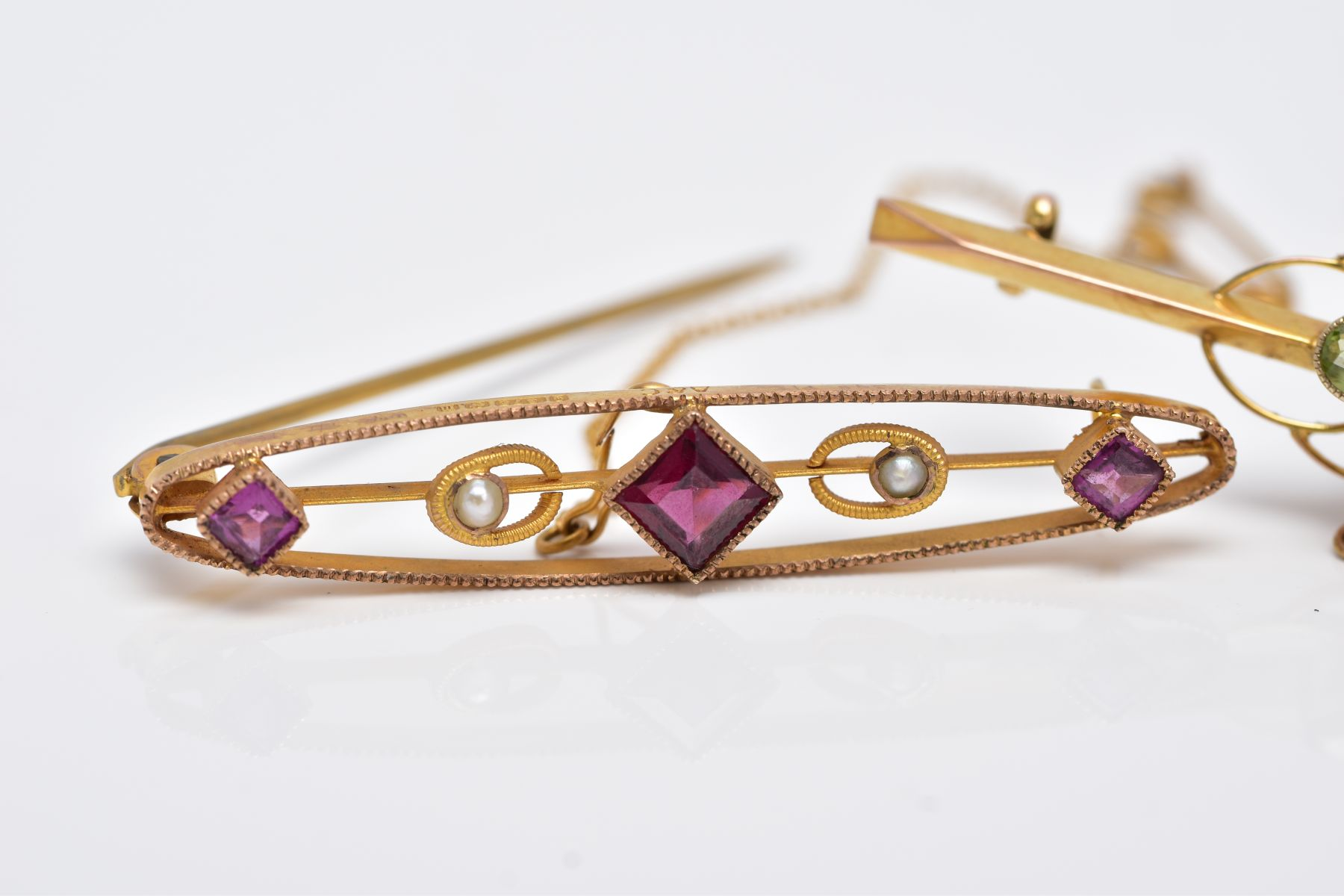 TWO EARLY 20TH CENTURY BAR BROOCHES, a 9ct gold amethyst garnet and seed pearl brooch, hallmarked - Image 2 of 4