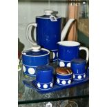 A T.G. GREEN LTD 'JERSEY BLUE', TWO PIECE COFFEE SET, MATCHING CONDIMENT SET ON TRAY AND A