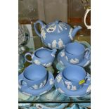 A SMALL COLLECTION OF WEDGWOOD PALE BLUE JASPERWARE, comprising a tea pot and cover and flattened