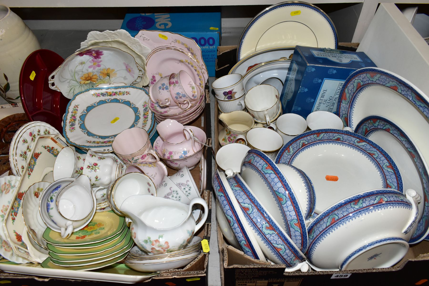TWO BOXES OF WEDGWOOD ROYAL WORCESTER, ROYAL ALBERT AND TUSCAN CHINA TEA AND DINNER WARES, including