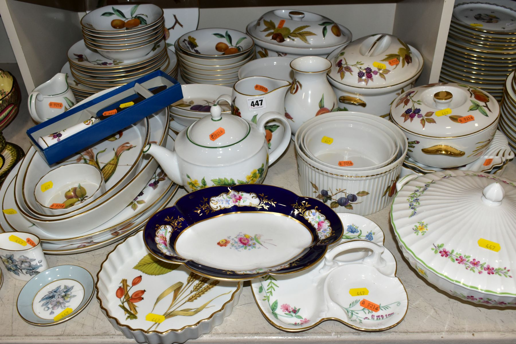 A QUATITY OF ROYAL WORCESTER 'EVESHAM' TABLEWARES, to include tureens, souffle dishes, meat