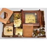 BOX CONTAINING A QUANTITY OF CLOCK PARTS AND MOVEMENTS, to include a wooden outer case with a