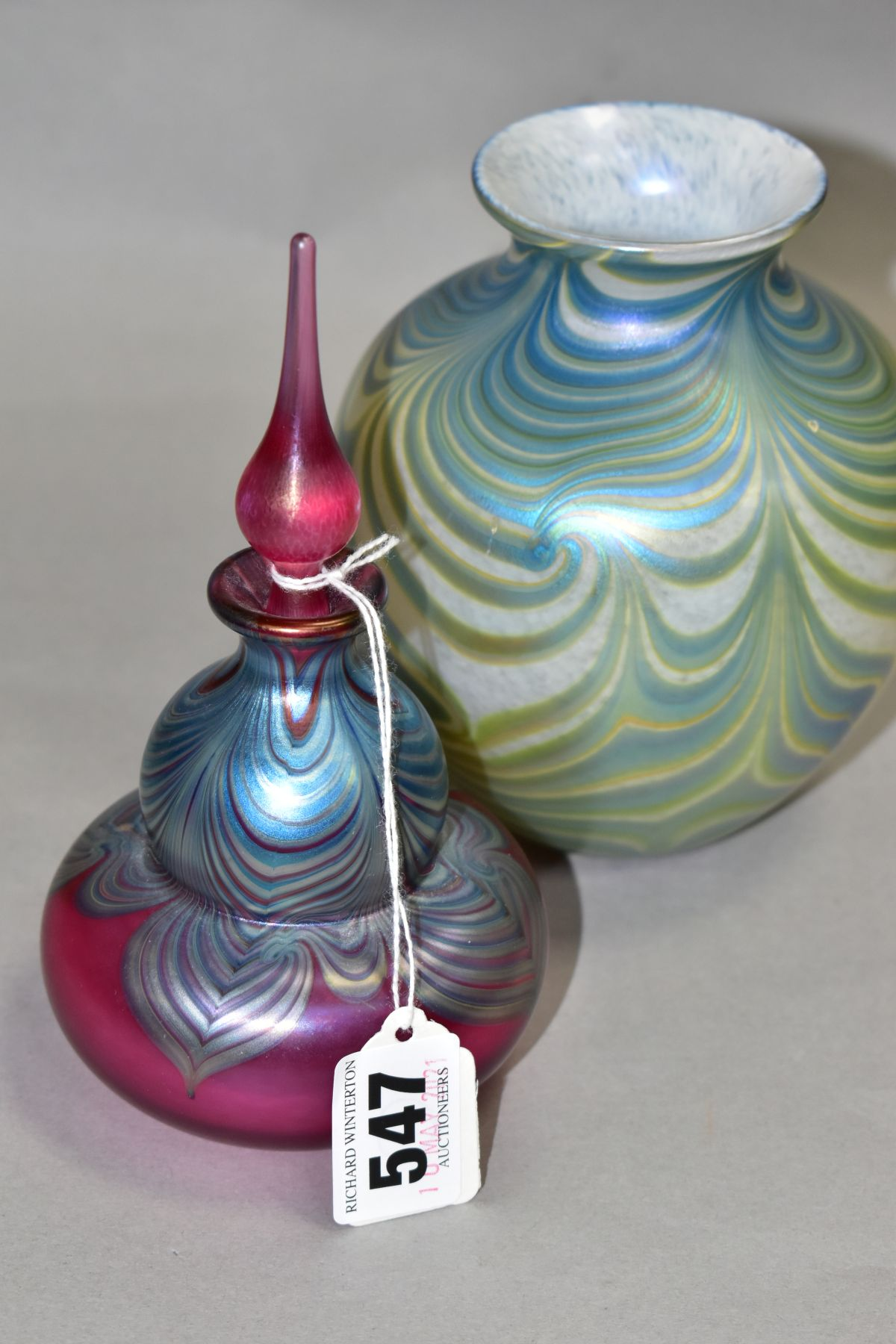 TWO PIECES OF OKRA IRIDESCENT GLASS, comprising of a perfume bottle marked Okra 93 to base, height - Image 2 of 6