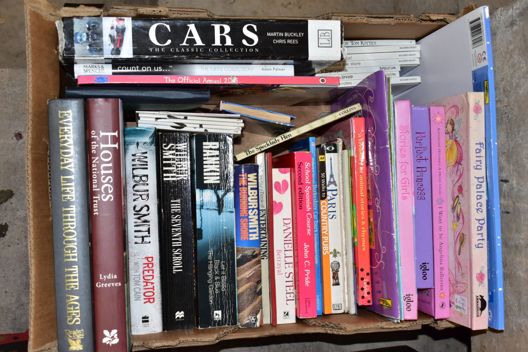 SEVEN BOXES OF ASSORTED BOOKS, including novels, cookery books, DIY books, motoring interest etc, - Image 7 of 8