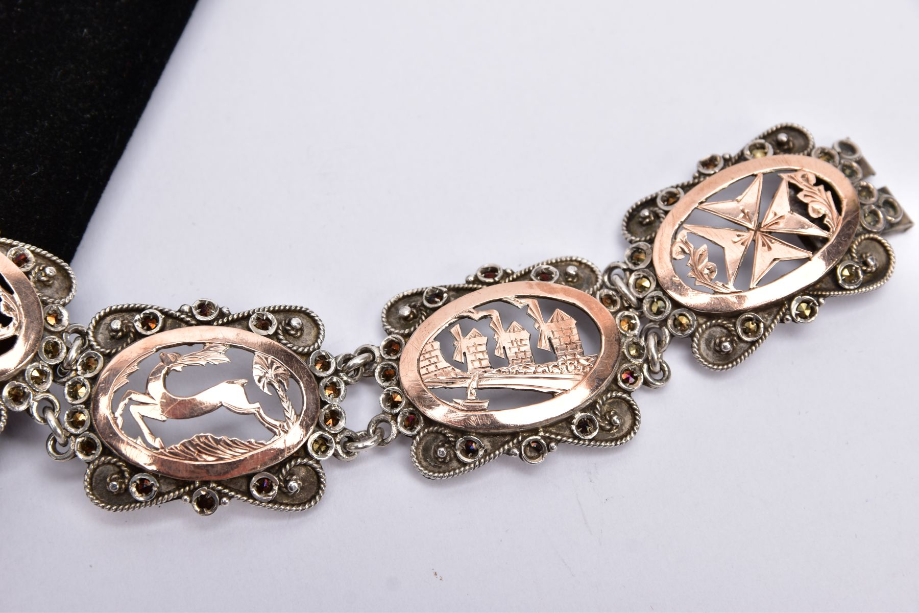 A WHITE METAL AND ROSE GOLD TONE BRACELET, designed with five openwork links, set with rose gold - Image 3 of 4