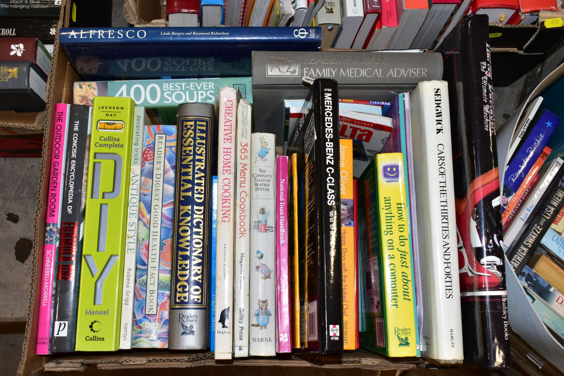 SEVEN BOXES OF ASSORTED BOOKS, including novels, cookery books, DIY books, motoring interest etc, - Image 6 of 8