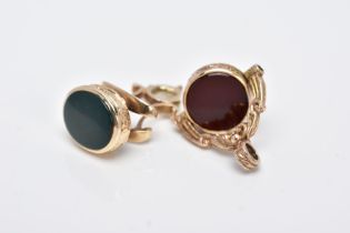 TWO 9CT GOLD SEMI PRECIOUS SET FOBS, the first a swivel fob pendant, set with circular carnelian and
