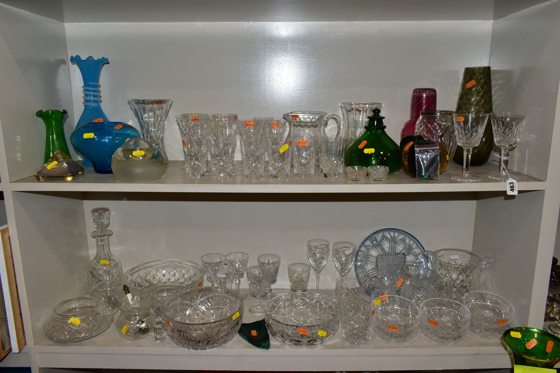 A GROUP OF CUT/COLOURED GLASSWARES, etc, to include a pair of Waterford crystal wines, a Stuart