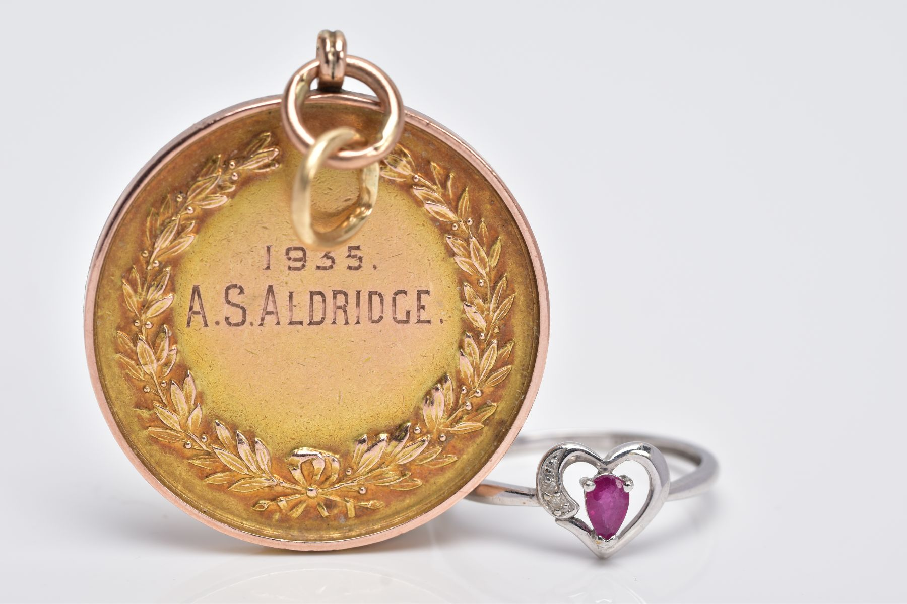 A 9CT GOLD MOUNTED MEDAL AND A 9CT WHITE GOLD RUBY AND DIAMOND RING, the medal of a circular form, - Image 2 of 4