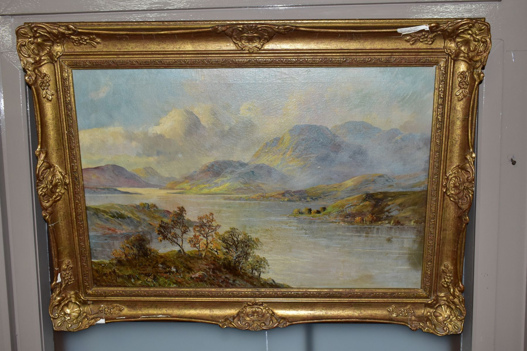 FRANCIS E.JAMIESON (1895-1950) 'LOCH KATRINE', a Scottish landscape, a large body of water to the