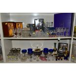 A GROUP OF CUT/CLEAR AND COLOURED GLASSWARES, to include a boxed set of six Edinburgh crystal