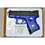 A BOXED G26 AIRSOFT GUN, blue, manufactured in China, with a small quantity of balls (PURCHASER MUST