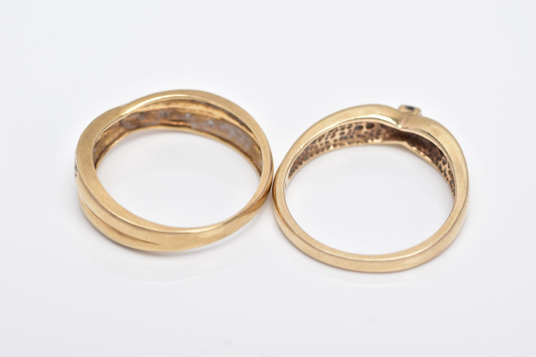 TWO 9CT GOLD DIAMOND RINGS, the first designed with a row of seven round brilliant cut diamonds, - Image 4 of 5