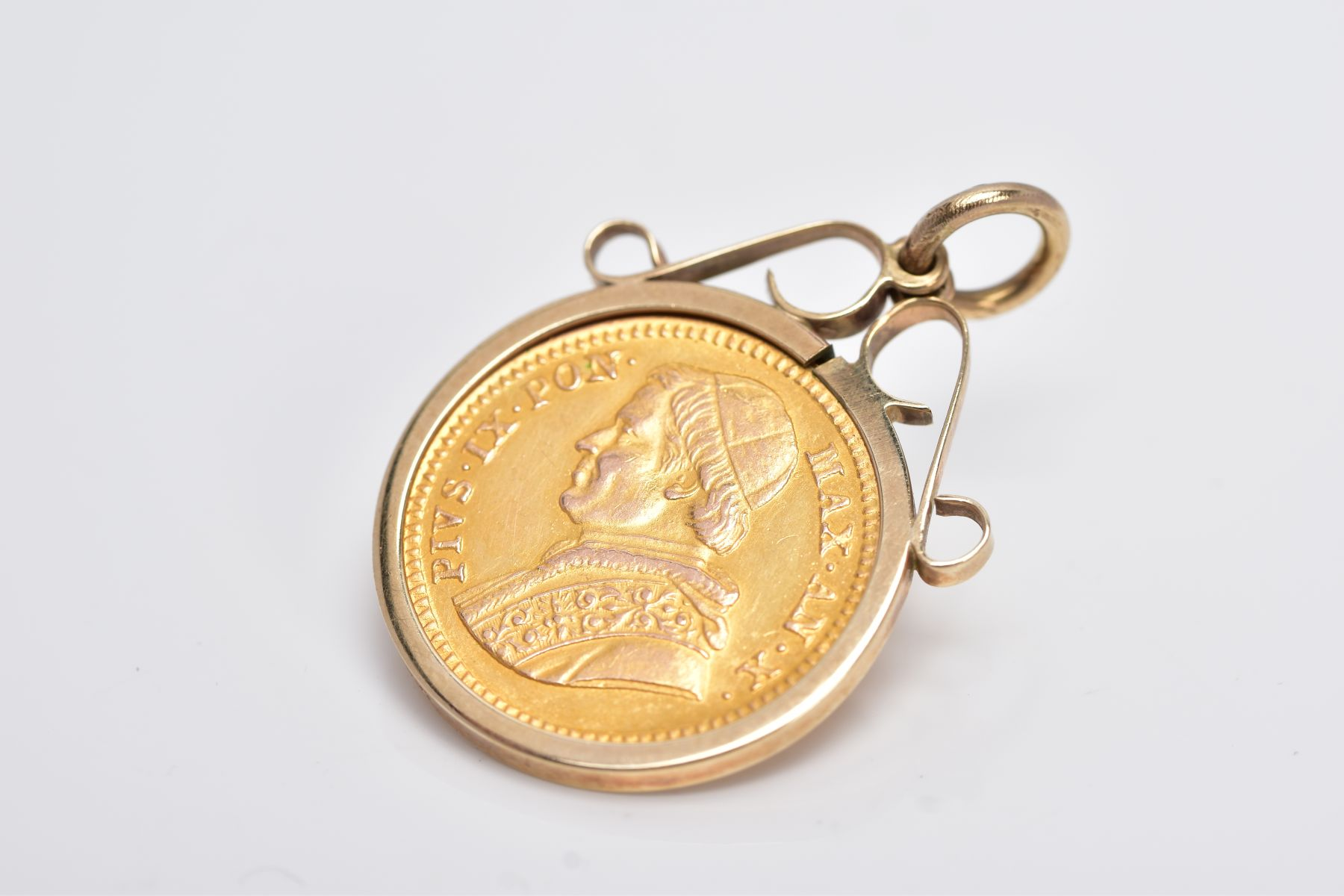 A MOUNTED 2.5 SCUDI COIN PENDANT, dated '1855', to the obverse depicts 'PIVS IX PON MAX AN X', - Image 3 of 4