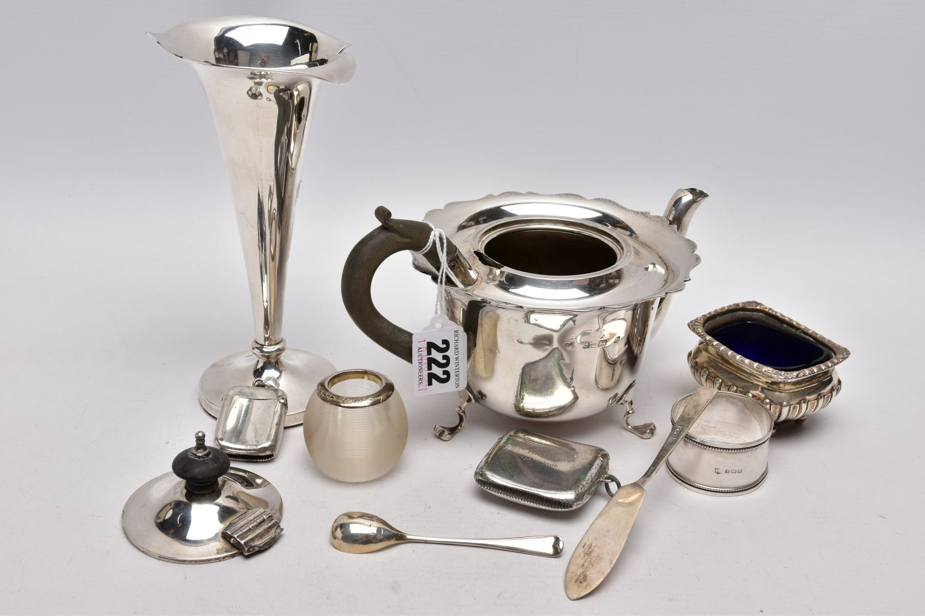 A SELECTION OF SILVER AND WHITE METAL ITEMS, to include an early 20th century AF silver teapot, wavy - Image 7 of 7