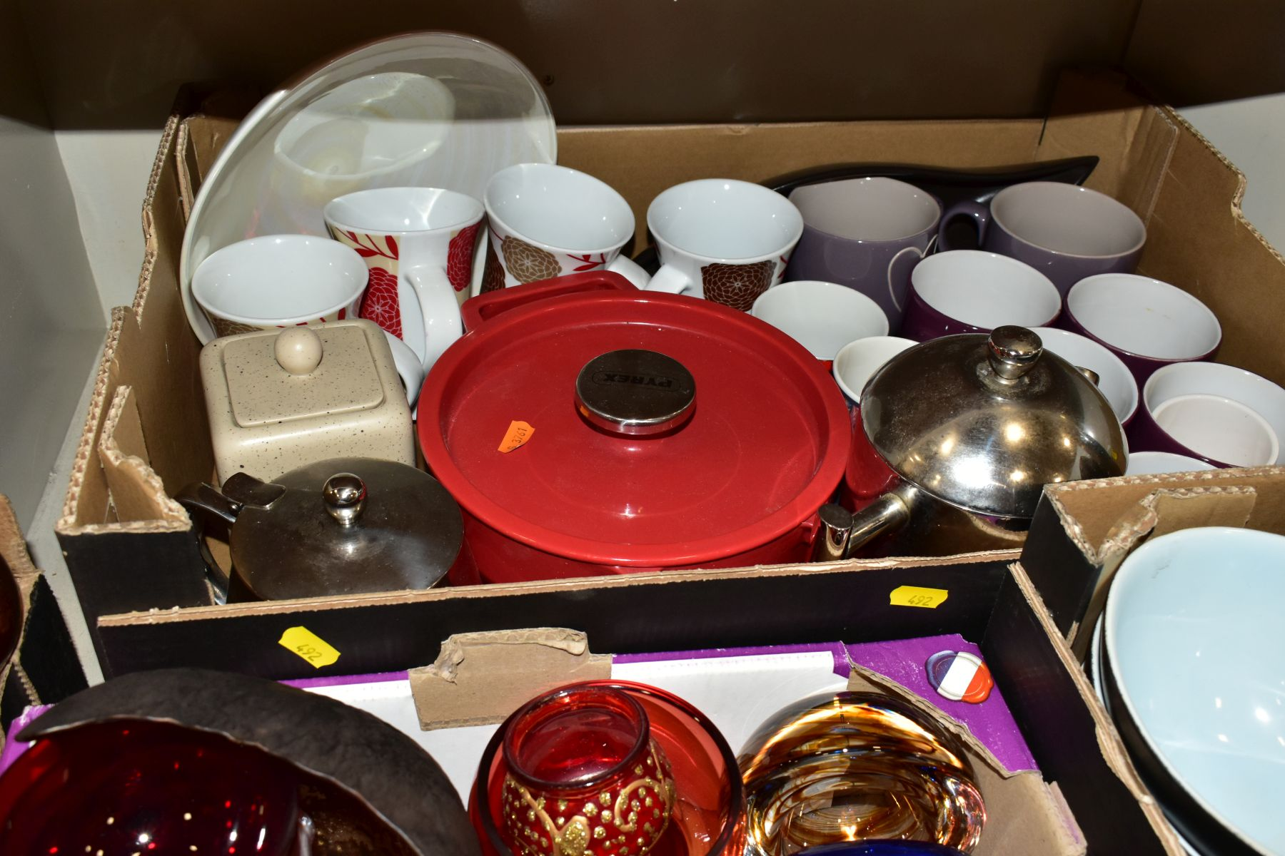 FOUR BOXES OF CERAMICS, GLASSWARES, SUNDRY ITEMS, ETC, to include four Denby everyday bowls, six - Image 4 of 8