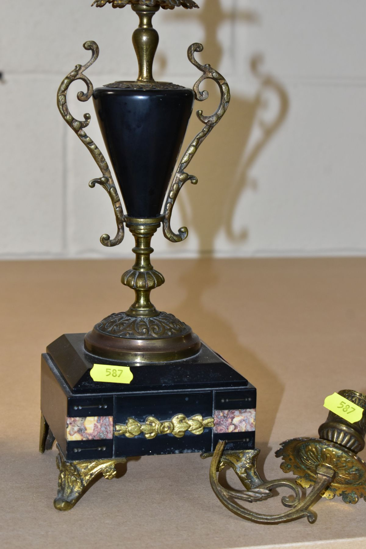 A LATE 19TH CENTURY BLACK SLATE, MARBLE AND GILT METAL CLOCK GARNITURE, the clock with urn shaped - Image 3 of 13