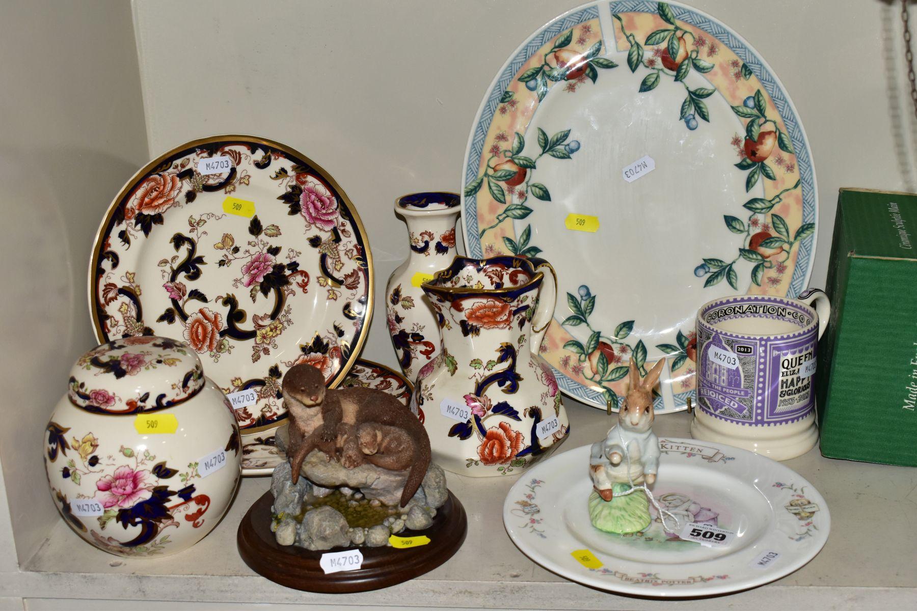 DECORATIVE CERAMICS ETC, to include a boxed Beswick Peter Rabbit, Royal Albert 'Tom Kitten' plate,
