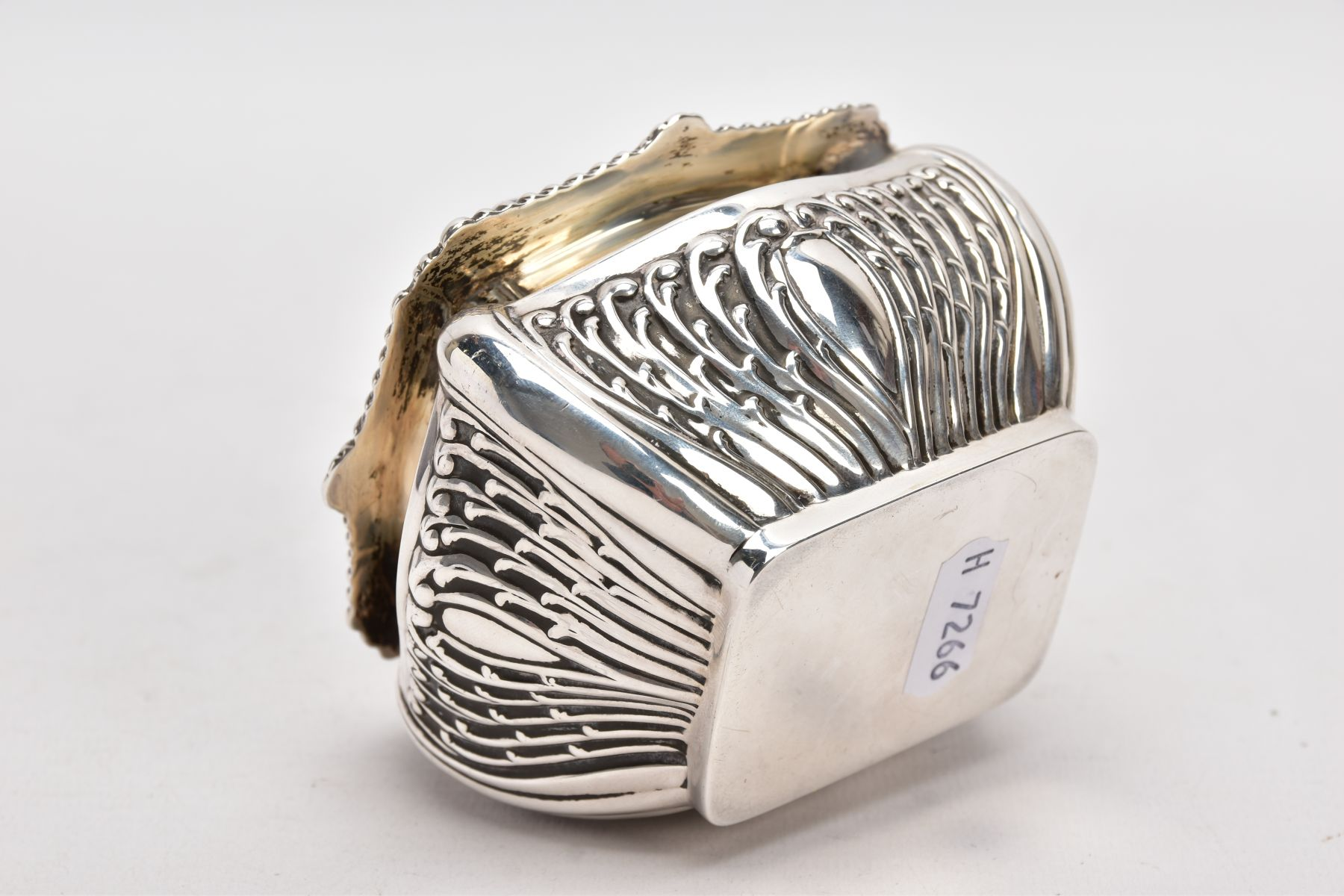 AN EDWARDIAN SILVER TEA CADDY, bomb shaped sucrier with hinged cover, gadrooned and shell cast - Image 6 of 6