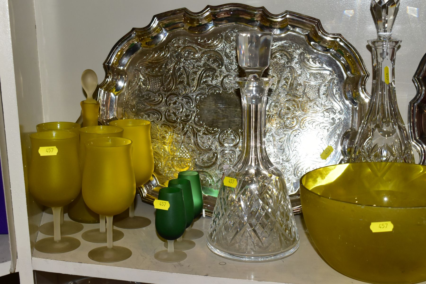 A QUANTITY OF CLEAR AND COLOURED GLASSWARE AND TWO LATE 20TH CENTURY SILVER PLATED TRAYS, - Image 3 of 10