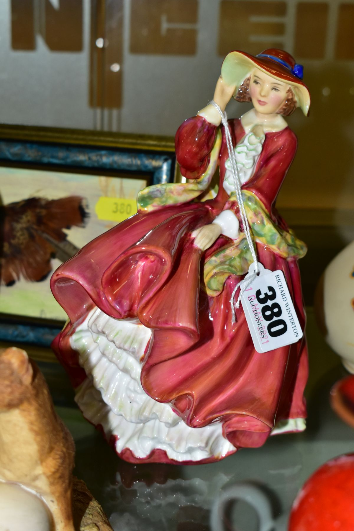 A GROUP OF CERAMICS, TINS etc, to include Royal Doulton figure 'Top O'the Hill' HN1834, Shelley - Image 10 of 11