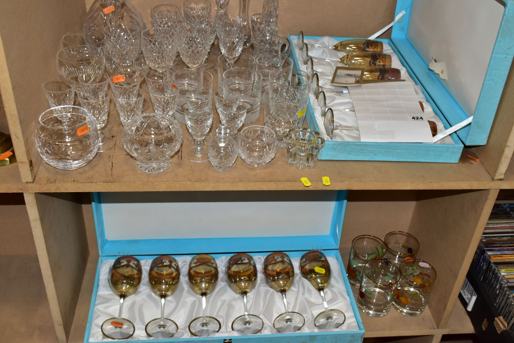 A GROUP OF GLASSWARE, including a boxed set of six Crystallera F.lli Fumo wine glasses, one set