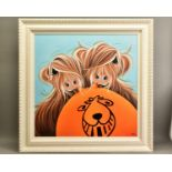 JENNIFER HOGWOOD (BRITISH 1980) 'IT'S MY TURN' a limited edition print of Highland Cattle with a