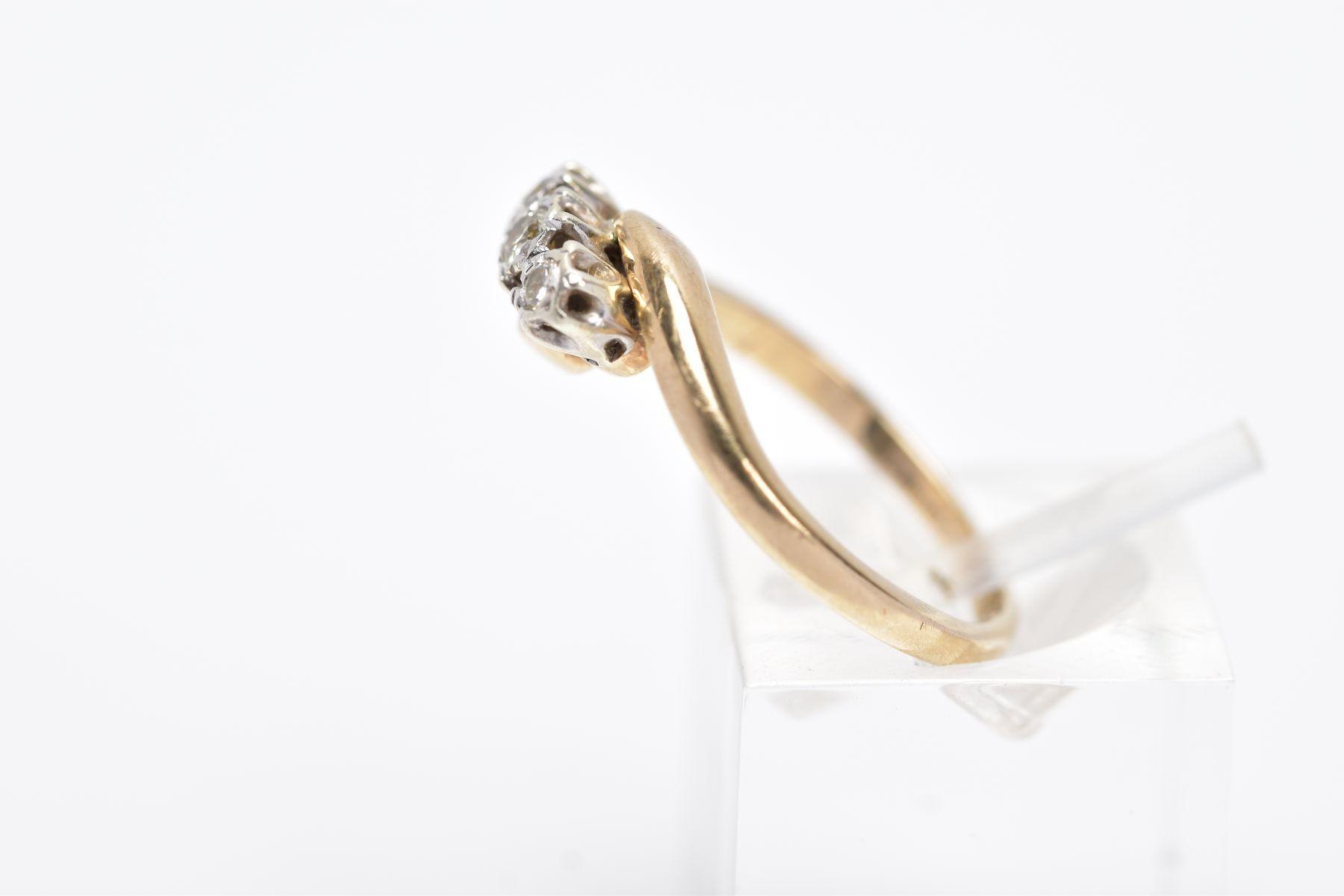 A 9CT GOLD THREE STONE DIAMOND RING, designed with three graduated round brilliant cut diamonds, - Image 2 of 4