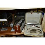 A GROUP OF RADIO'S, TYPEWRITERS, CAMERAS, ETC, including a Roberts R404 radio with envelope of
