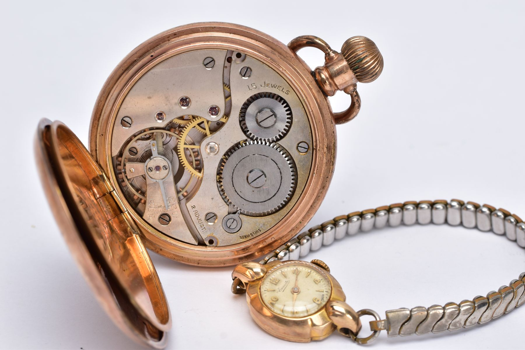 A LADIES 9CT GOLD CASED WRISTWATCH AND A GOLD PLATED POCKET WATCH, the ladies wristwatch with a - Image 5 of 5