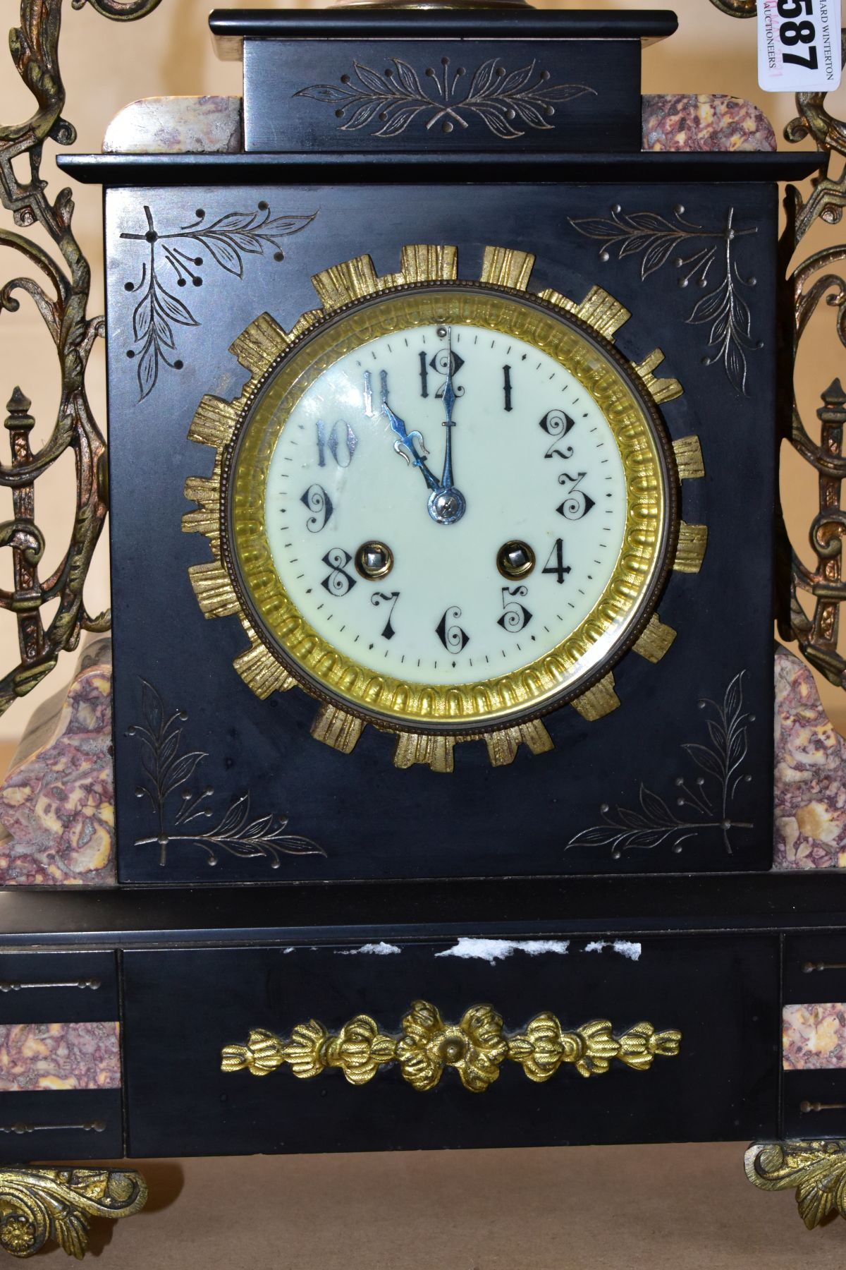 A LATE 19TH CENTURY BLACK SLATE, MARBLE AND GILT METAL CLOCK GARNITURE, the clock with urn shaped - Image 5 of 13
