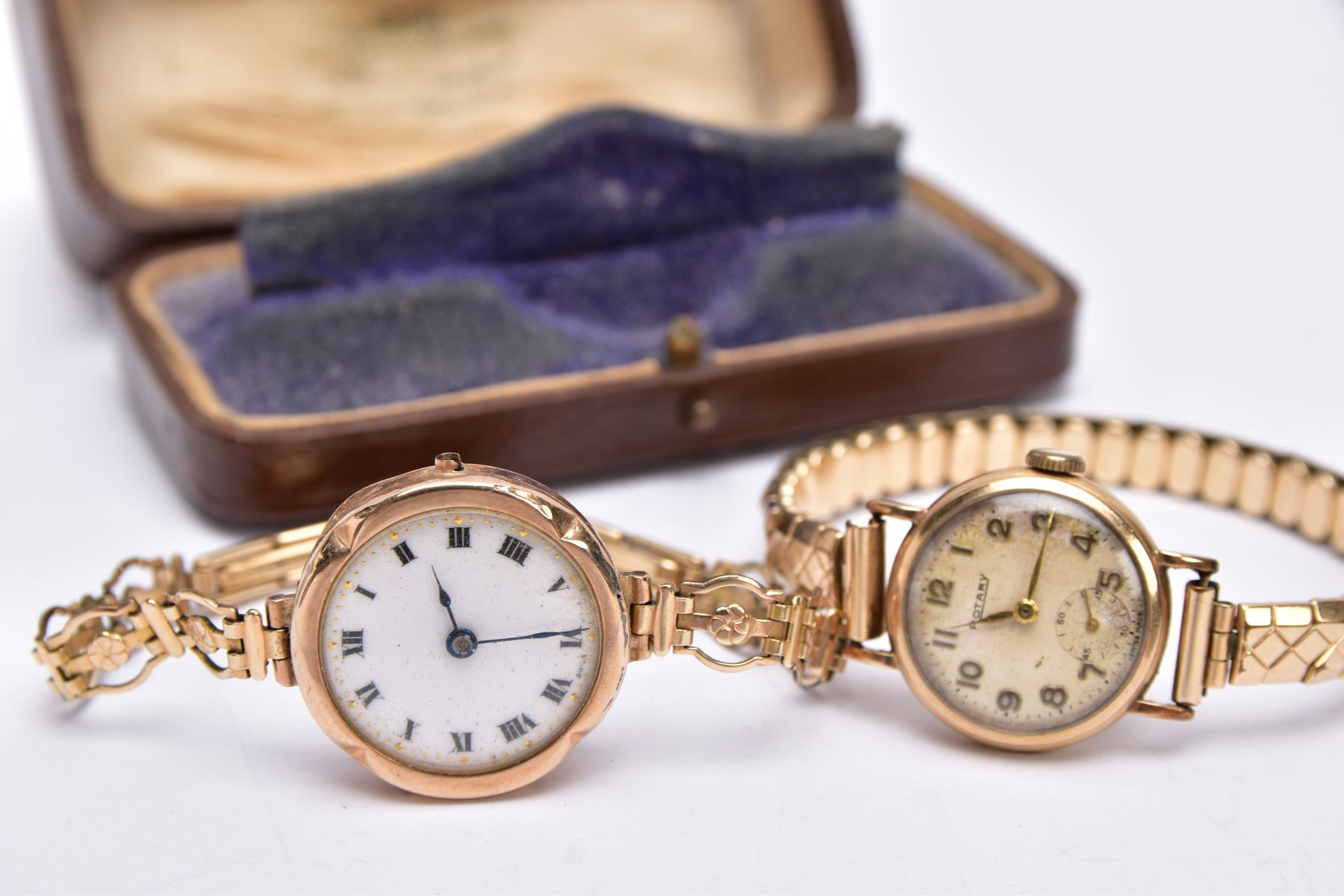 TWO GOLD CASED LADIES WRISTWATCHES, each fitted to gold plated bracelets, an early 20th century - Image 2 of 4