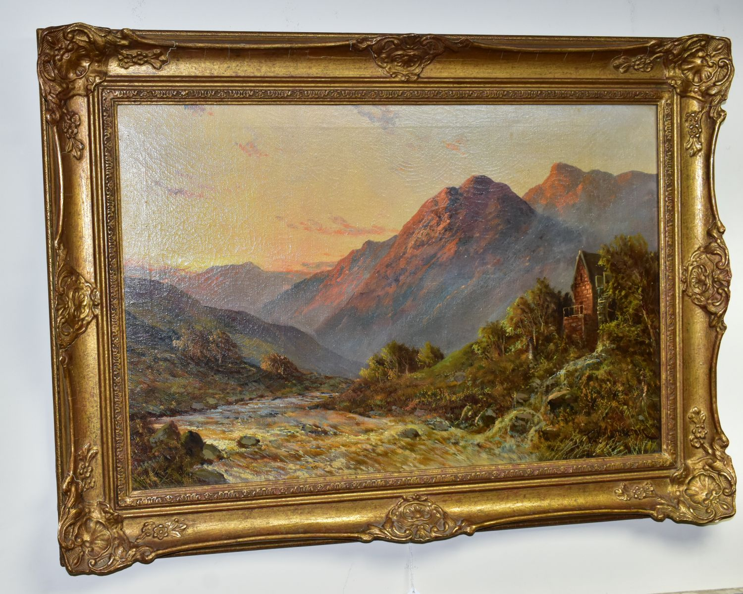 FRANCIS E JAMIESON (1895-1950) 'ALLAN WATERS NR STIRLING' a Scottish mountainous landscape with - Image 4 of 4