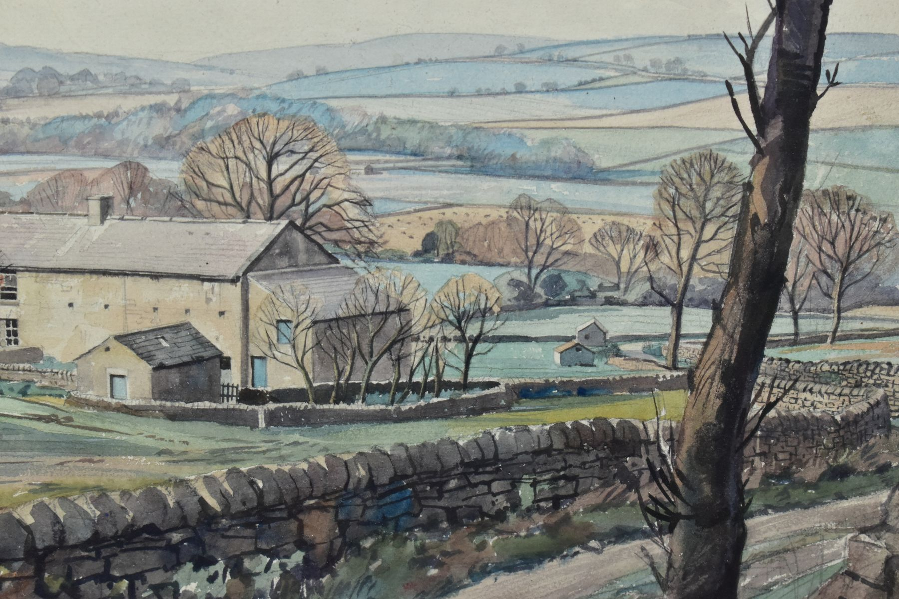 WALTER HORSNELL (1911-1997) a rural landscape with farm buildings to the mid distance, signed bottom - Image 4 of 4