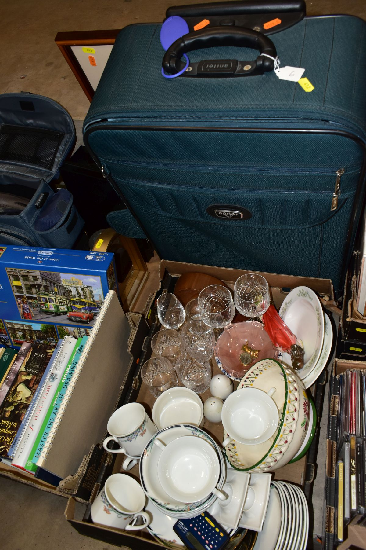THREE BOXES AND LOOSE CERAMICS, GLASS, BOOKS, CD'S, A SUITCASE, ETC, including Royal Doulton Juno - Image 2 of 10