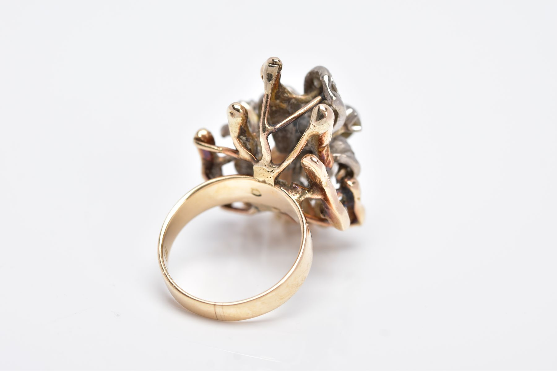 A YELLOW METAL DIAMOND SET RING, of a floral and bark textured design in the style of Andrew - Image 3 of 4