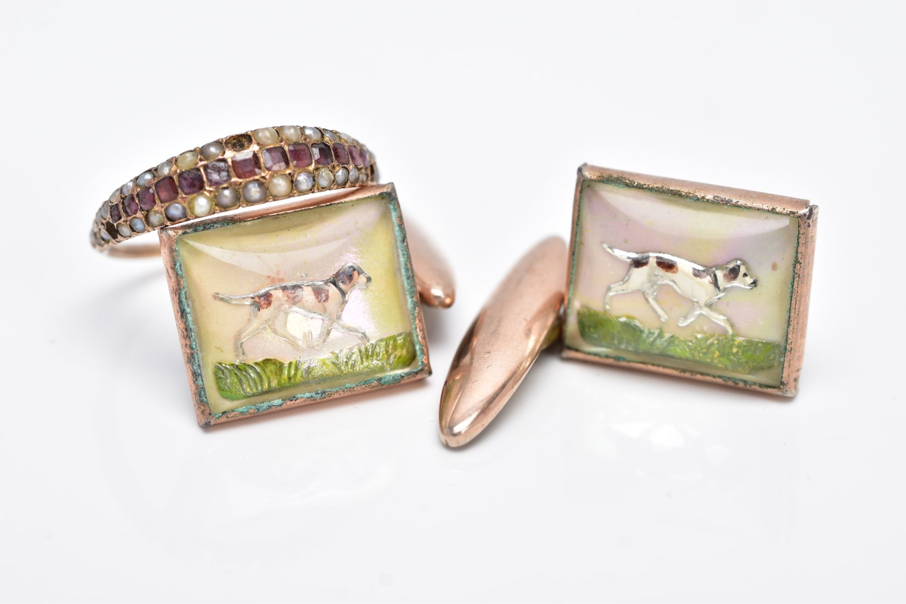 A PAIR OF ESSEX CRYSTAL STYLE GILT CUFFLINKS AND A VICTORIAN GARNET AND SPLIT PEARL RING, the