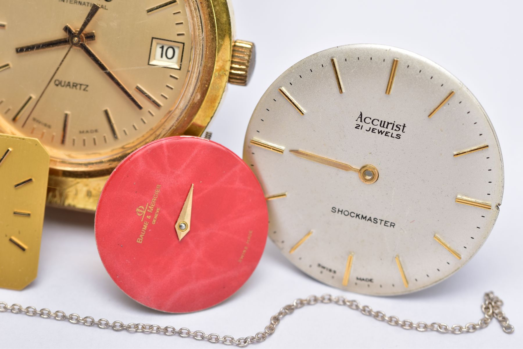 A GENTS 'LIMIT' WRISTWATCH AND WATCH PARTS, the quartz 'Limit' wristwatch, round gold dial signed ' - Image 2 of 7