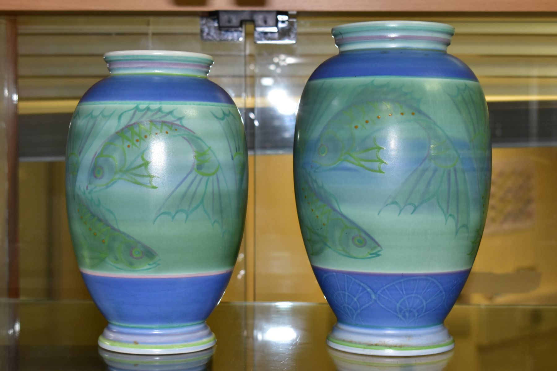 A POOLE STUDIO SALLY TUFFIN BALUSTER VASE AND MATCHING JAR, the baluster vase handpainted with bands - Image 3 of 7