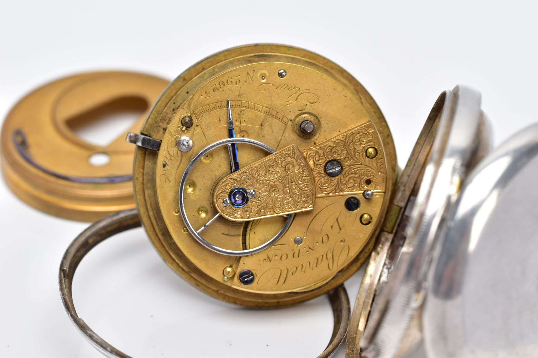 A SILVER OPEN FACED POCKET WATCH, AF, cream dial, Roman numerals, seconds subsidiary dial at the six - Image 5 of 5