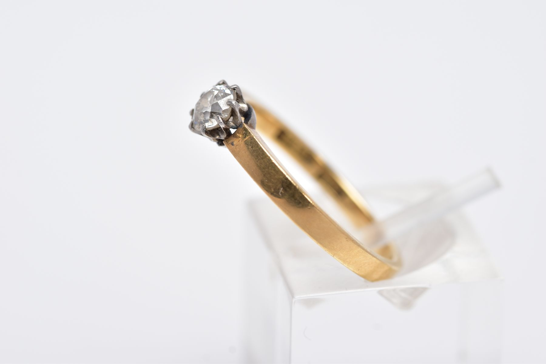 A DIAMOND SINGLE STONE RING, an old cut diamond, estimated weight 0.30ct, colour assessed as H-I, - Image 2 of 3