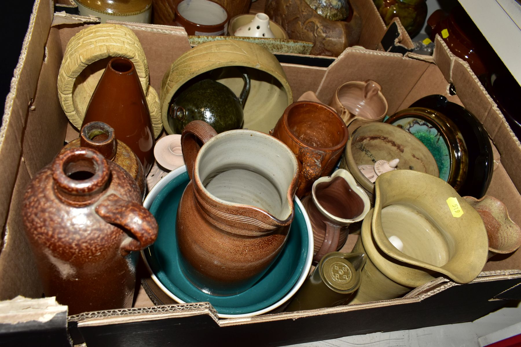 TWO BOXES AND LOOSE STONEWARE etc, including Hillstonia, Studio pottery, stoneware jugs and flagons, - Image 6 of 8