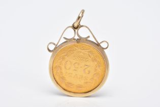 A MOUNTED 2.5 SCUDI COIN PENDANT, dated '1855', to the obverse depicts 'PIVS IX PON MAX AN X',