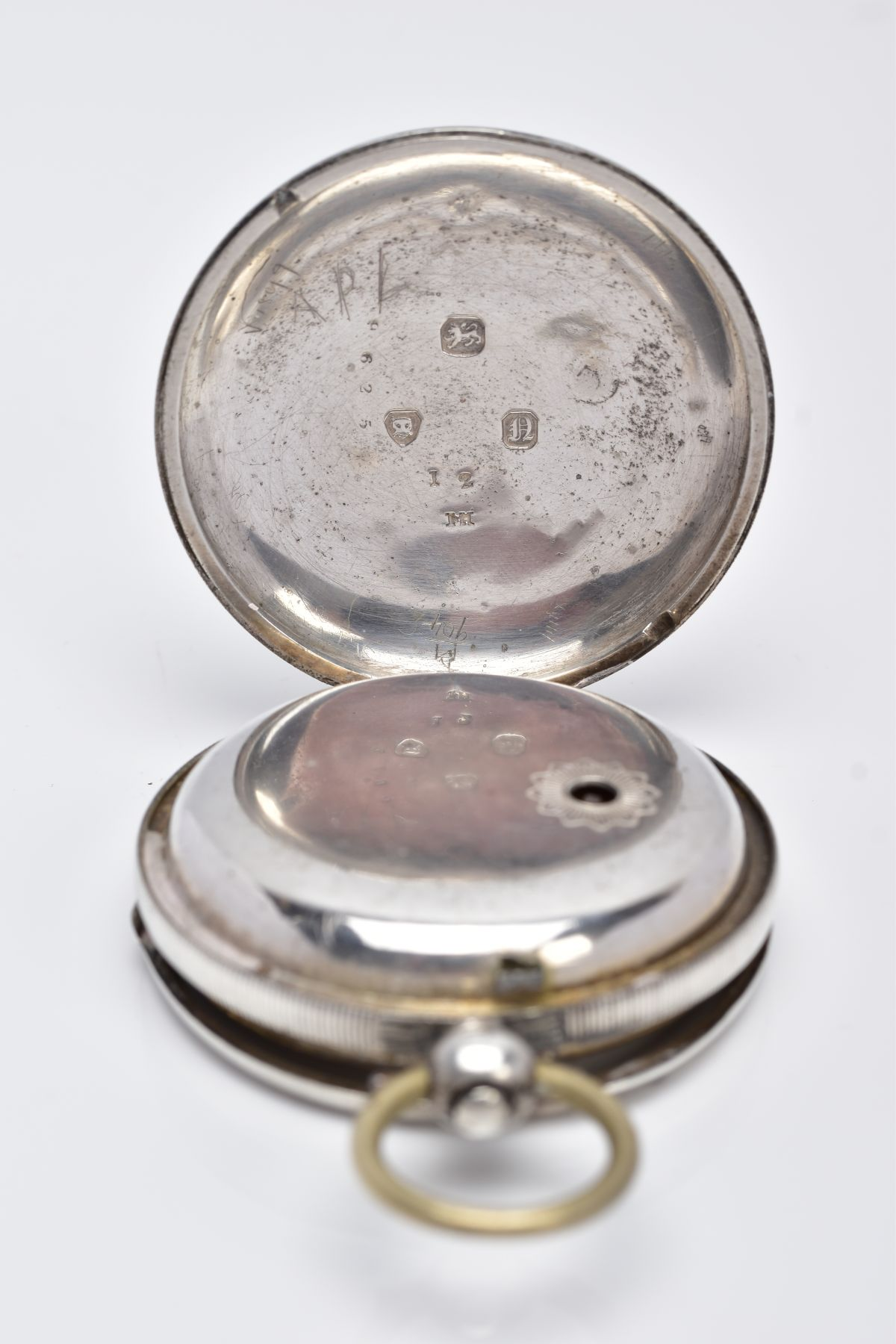 A SILVER OPEN FACED POCKET WATCH, AF, cream dial, Roman numerals, seconds subsidiary dial at the six - Image 3 of 5